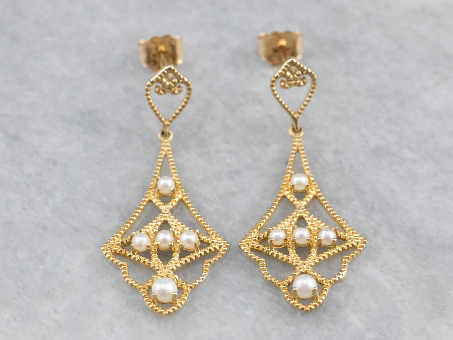 Gold Seed Pearl Drop Earrings