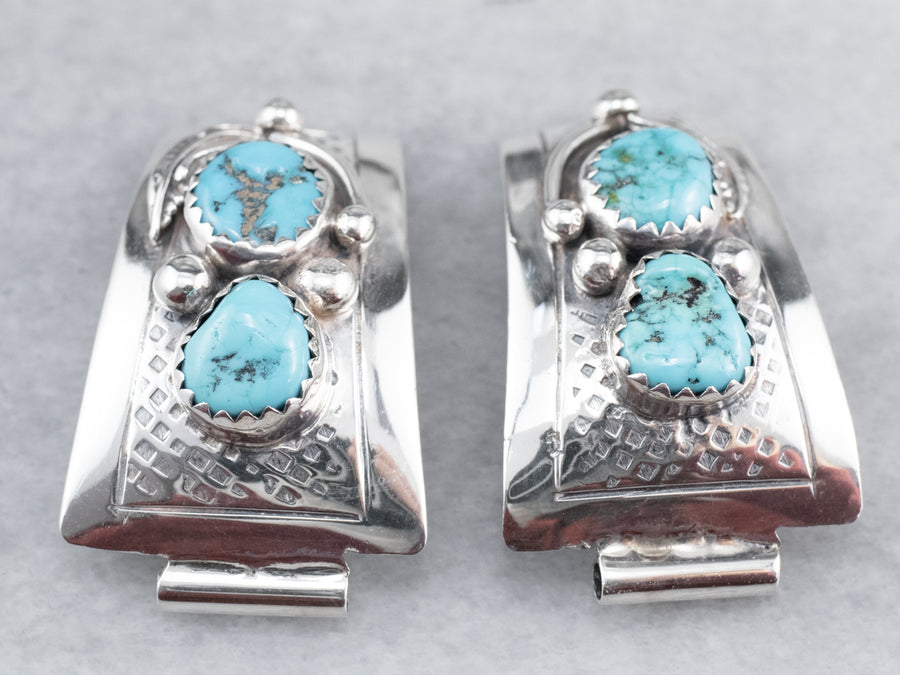 South West Style Sterling Silver Turquoise Watch Tips