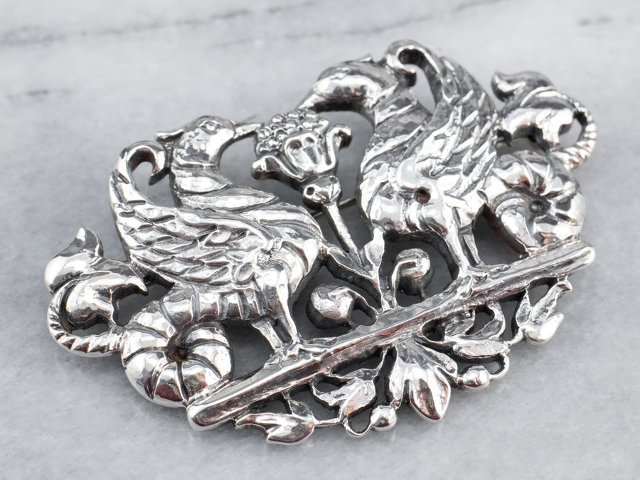 Ornate Sterling Silver Pheasant Brooch