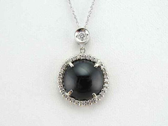 Sleek Cat's Eye Sillimanite and Diamond Necklace