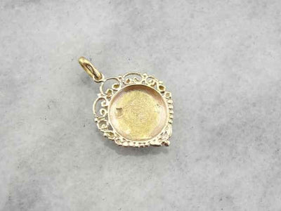 Fine Gold Antique Flower Pendant with Filigree