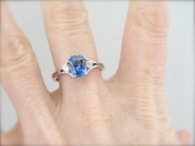 Modernist Ceylon Sapphire Ring with Exquisite Faceting and Color