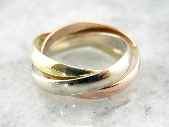 14 Karat  Three Band Rolling Ring, Tri Color Gold