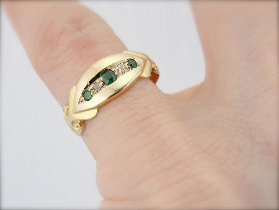 Victorian Ladies Demantoid Garnets and Rose Cut Diamonds Band