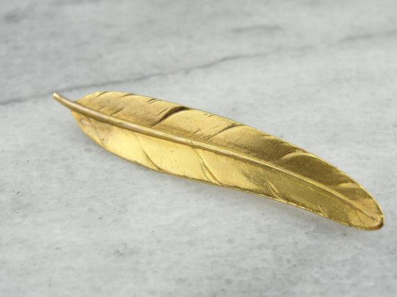 Gold Feather Pin, Detailed Writing Quill Brooch