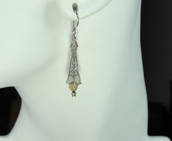 Art Deco Earrings with Victorian Details and Diamond Accents