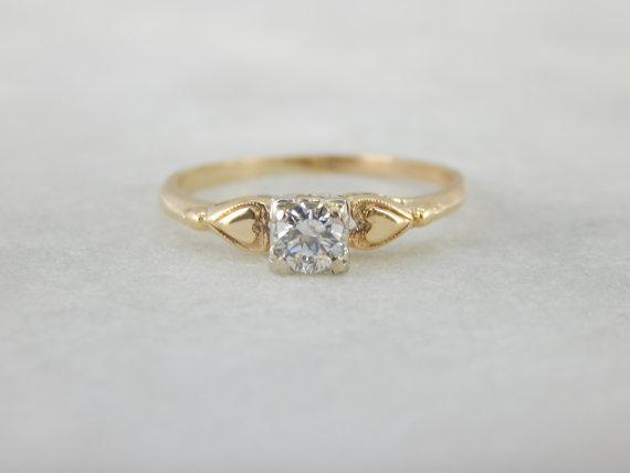 Yellow Gold Diamond Heart Shoulder Engagement Ring