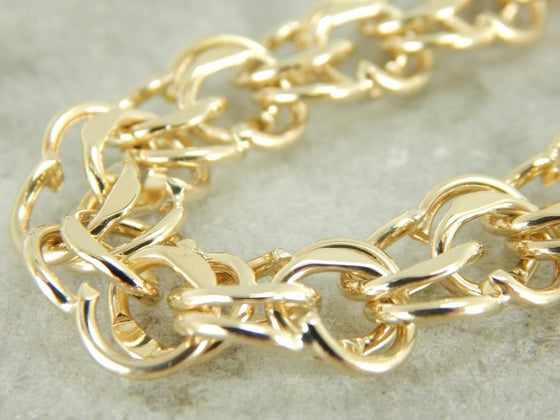 Chunky Yellow Gold Charm Bracelet