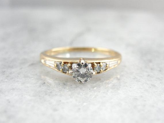 Contemporary Gold and Fine Diamond Engagement Ring