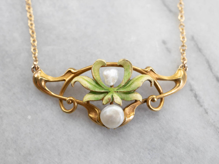 Art Nouveau Enamel and Baroque Pearl Necklace