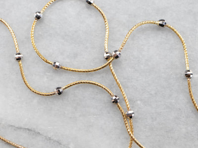 Two Tone Gold Station Necklace