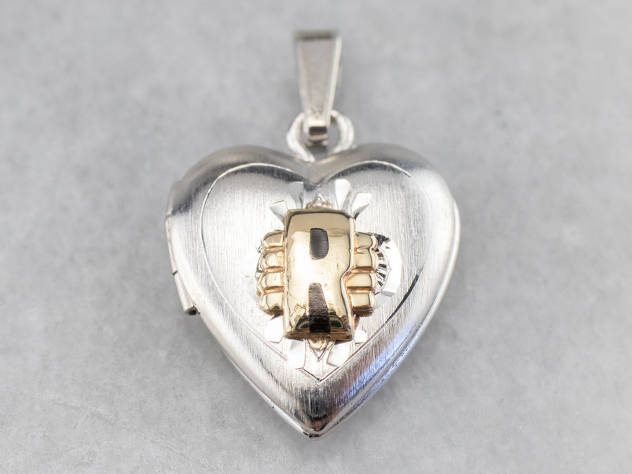 "Silver and Gold ""R"" Initial Locket"