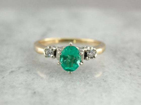 Emerald Three Stone Ring with Fine Diamonds