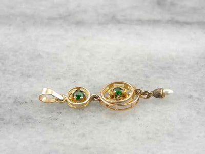 Antique Lavalier Pendant with New Demantoid Garnets
