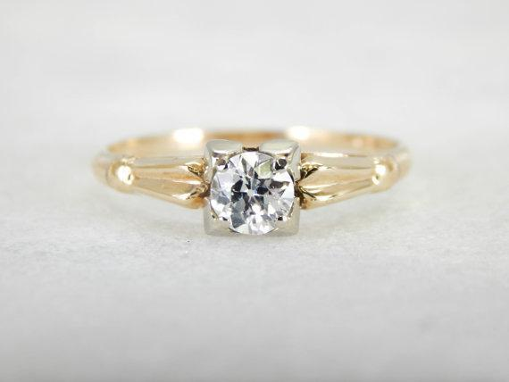 Antique Mine Cut Diamond Engagement Ring with Square Top