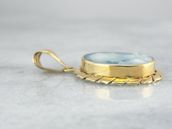 18K Yellow Gold, Blue Carved Stone Cameo Pendant