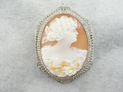 14K White Gold and Fine Shell Cameo, Antique Pin