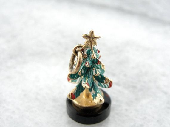 Three Dimensional Christmas Tree Charm with Fine Enamel