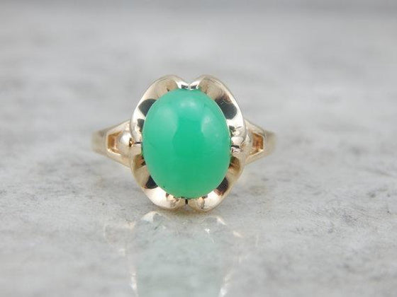 Incredible Chrysoprase Ring in Scalloped Setting