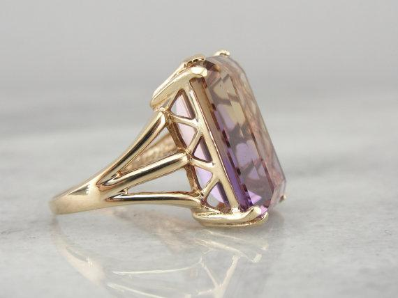 Ametrine, Citrine  Amethyst,  Solitaire Cocktail Ring