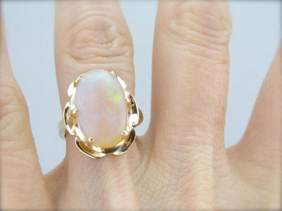 Fine Red Ethiopian Opal Gold Cocktail Ring