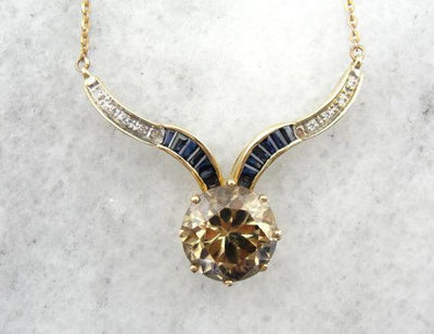 Champagne Zircon, Sapphire and Diamond Necklace