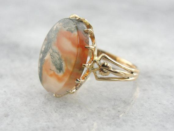Gorgeous Carnelian Moss Agate Cocktail Ring