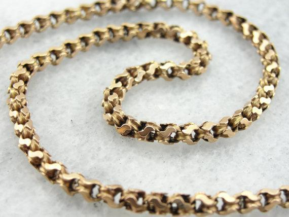 Beautiful, British Victorian Woven Chain in Antique Rose Gold