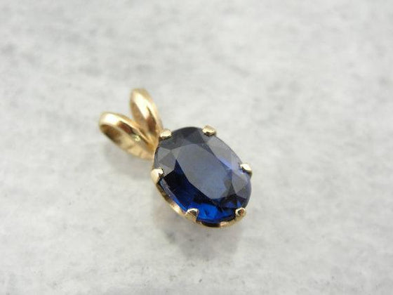 Dark Royal Blue Kyanite Pendant in Fine Yellow Gold