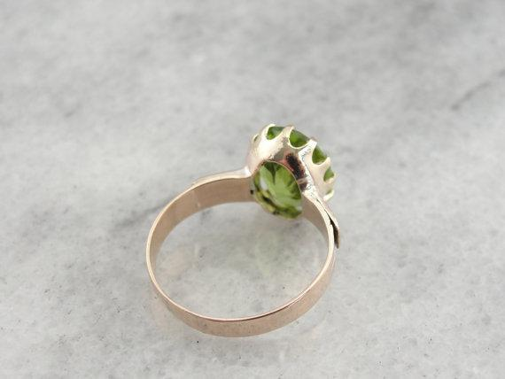 Antique Victorian, Rose Gold Ladies Ring with Fine Peridot Center