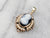 Antique Black Onyx Cameo and Seed Pearl Pendant