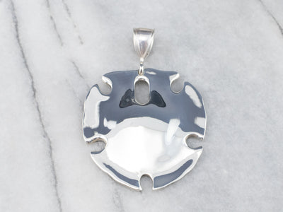Sterling Silver Stylized Sand Dollar Pendant