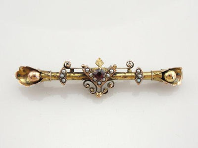 Gothic Victorian Garnet and Pearl Gold Bar Pin Brooch