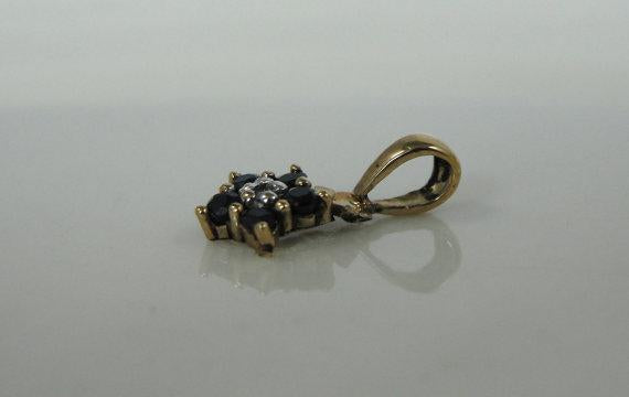 Vintage Gold, Sapphire and Diamond Cluster Pendant