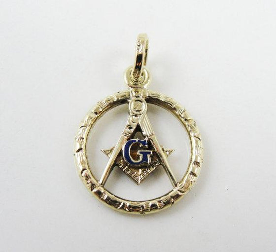 14 Karat Green Gold Blue Enamel Masonic Charm