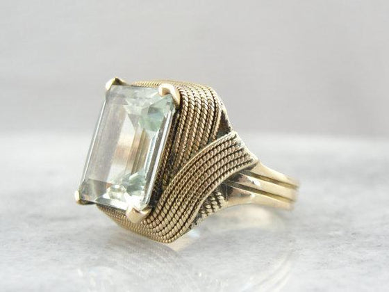 Modernist Cocktail Ring with Bright Green Beryl Center