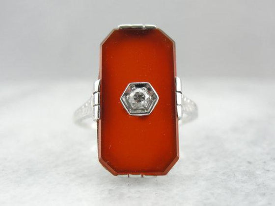 White Gold Carnelian Cocktail Ring with Diamond Accent