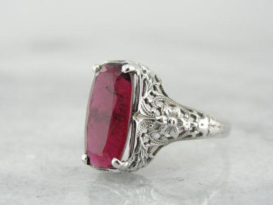Art Deco Ring with Stunning Rubellite Tourmaline