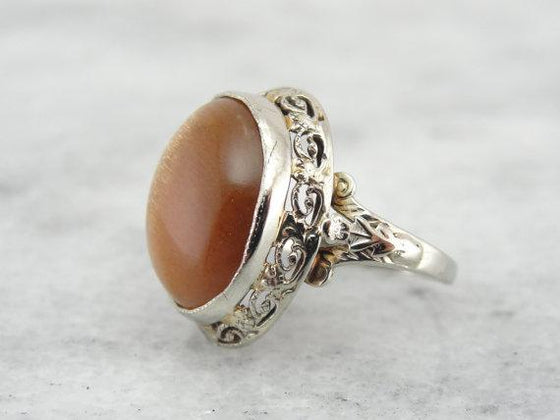Rare African Sunstone Stunning Art Nouveau Ring