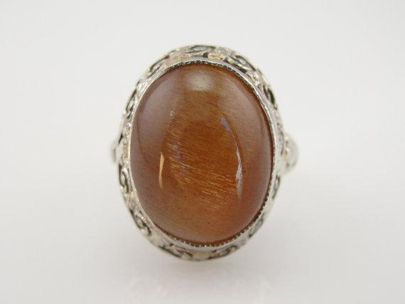 Rare African Sunstone Vintage Statement Ring