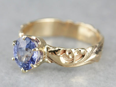 Indigo Sapphire Floral Gold Solitaire Ring