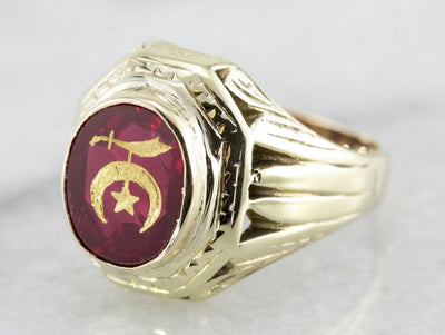 Retro Era Men's Shriners Club Statement Ring, Masonic or Fraternal Collectors Item