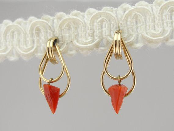 Fine Gold Drop Earrings with Orange Coral