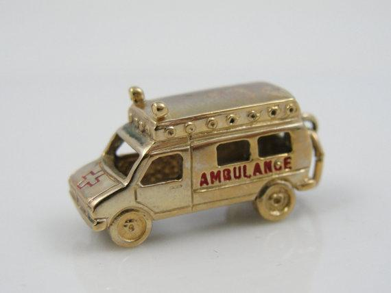Ambulance Charm with Red Enamel, Solid 10k Gold