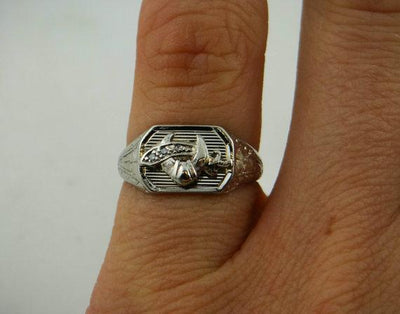 Vintage Diamond Shriner's White Gold Pinky Ring