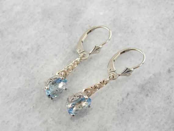 Aquamarine Earrings with Curling, Curving Scrollwork