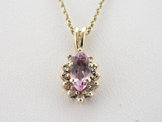 Pink Morganite Pendant with Diamond Halo Accents
