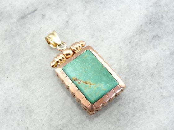Victorian Fob Locket with Turquoise and Sardonyx Center