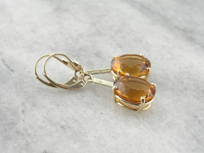 Gorgeous Citrine and Textured Gold Drop Earrings