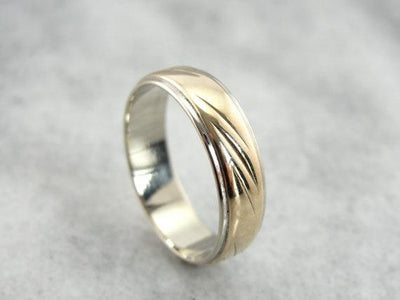 Wedding Band in Mixed Metals, 14K Yellow and White Gold